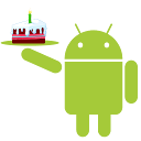 Android with cake