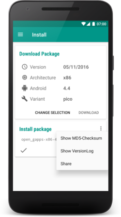 App package dropdown